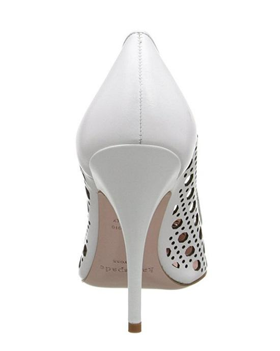 KATE SPADE new york Women's White Lizette Lattice Perforated Leather Pumps