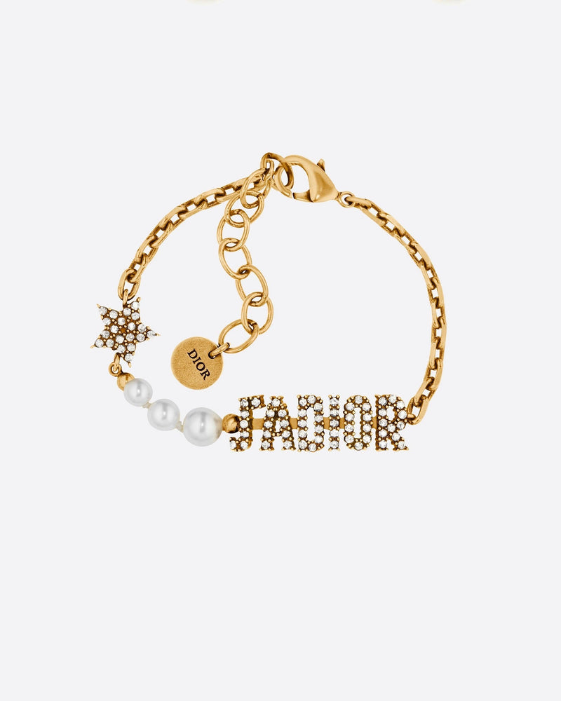 Dior J'Adior Bracelet Antique Gold Metal, White Resin Pearls and Crystals