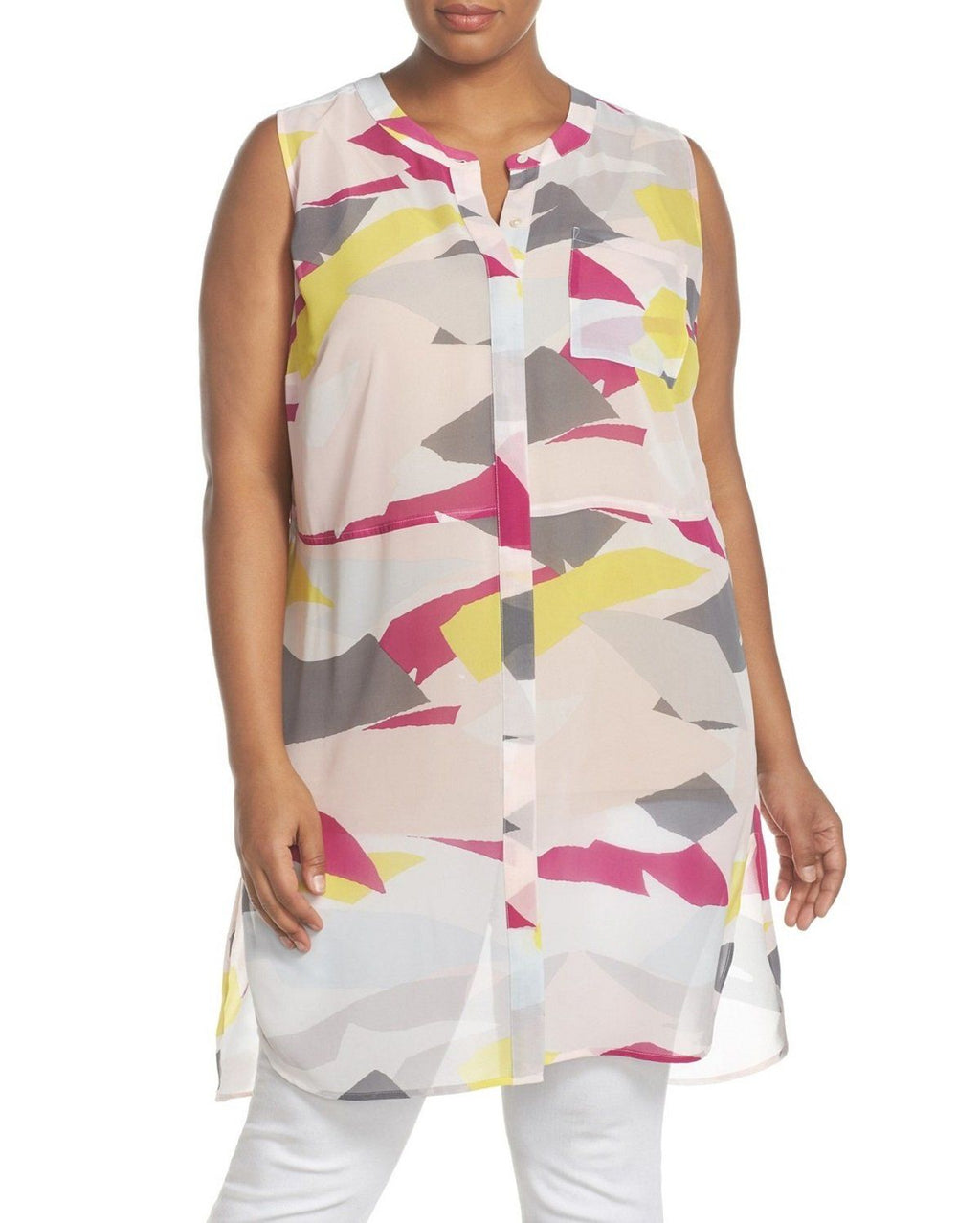 TWO By Vince Camuto Abstract Cutouts Print Chiffon Sleeveless Tunic