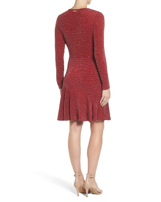 MICHAEL Michael Kors Women's Red Shimmer Faux Wrap Flounce Dress