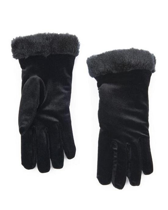 Cejon Thinsulate Women's Crushed Velvet Gloves with Faux Fur Trim
