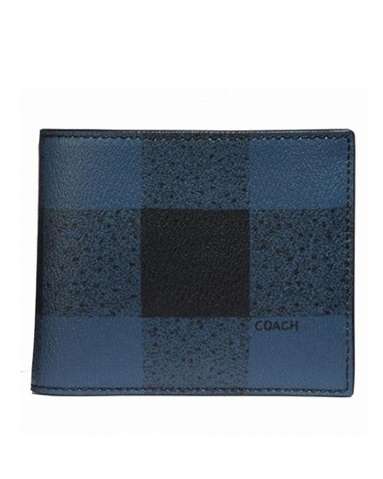 COACH MEN'S F7352 3-IN-1 WALLET WITH BUFFALO CHECK PRINT