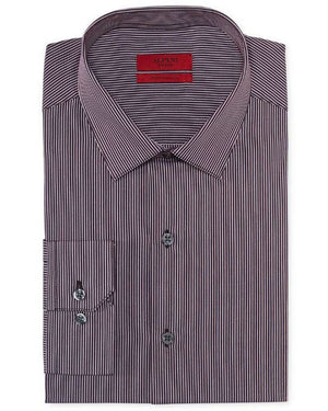 Alfani Red Fitted Plum Thin Stripe Performance Dress Shirt-ALFANI-Fashionbarn shop