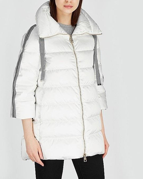 Herno White Quilted Satin Coat