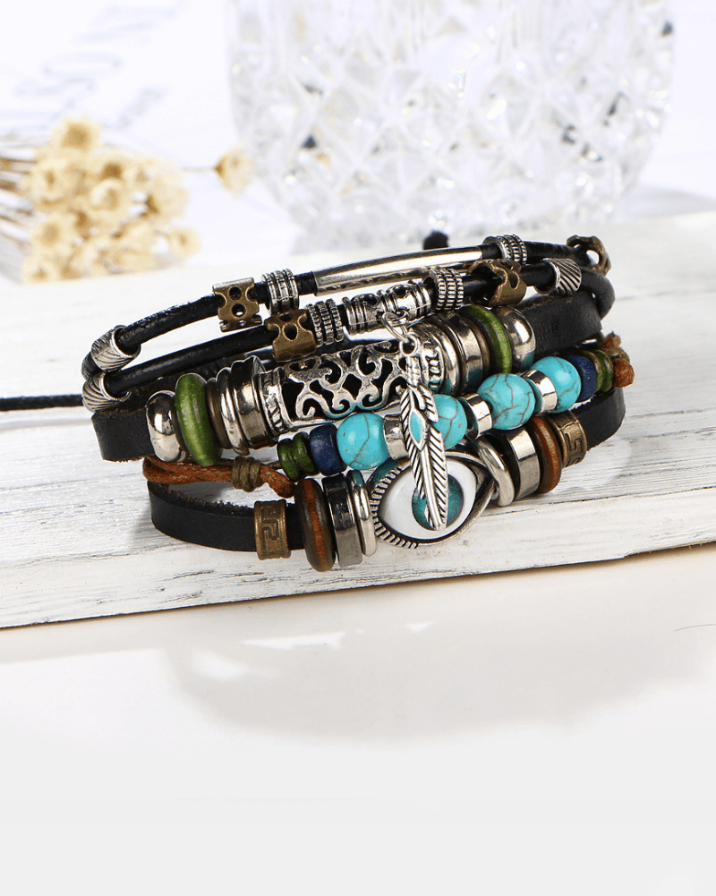 Steffe Unisex Bohemian Multilayers Turkish Eye Leather Bracelets