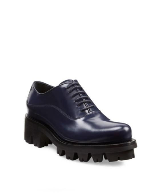Prada Lug-Sole Leather Lace-Up Oxfords