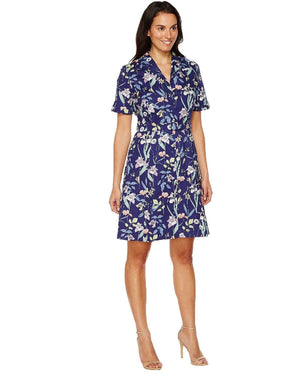 Sangria Short Sleeve Floral A-Line Shirtdress