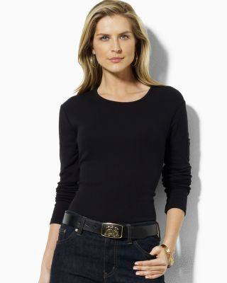RALPH LAUREN BLACK PETITE TOP-LAUREN RALPH LAUREN-Fashionbarn shop