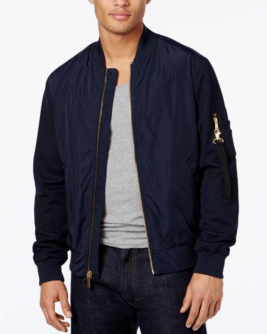 Sean John Men's Pique-Sleeve Bomber Jacket