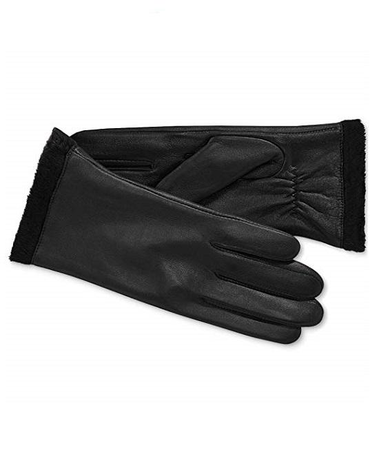 Charter Club Women's Micro Faux Fur Lining Leather Gloves