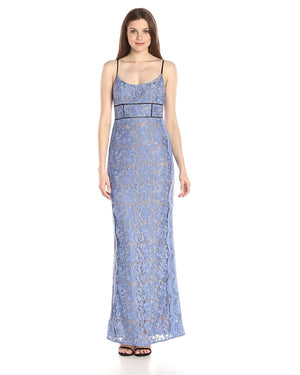 ABS Allen Schwartz Women's Gown With Fagottin Inserts and Lace Scallop seams
