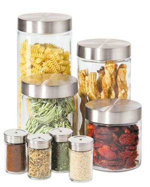 Oggi 8 Piece Round Airtight Glass Canister and Spice Jar Set with Stainless Steel Lids-OGGI-Fashionbarn shop