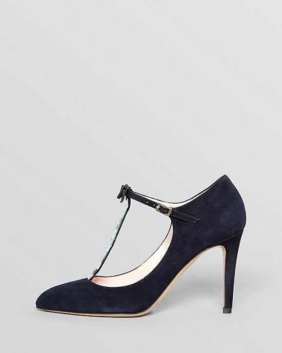 KATE SPADE new york Pointed Toe T Strap Evening Pumps - Noland High Heel-KATE SPADE-Fashionbarn shop