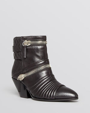 GIUSEPPE ZANOTTI Nero Leather 'Guns 55' Zip Detail Ankle Booties - Fashionbarn shop - 1