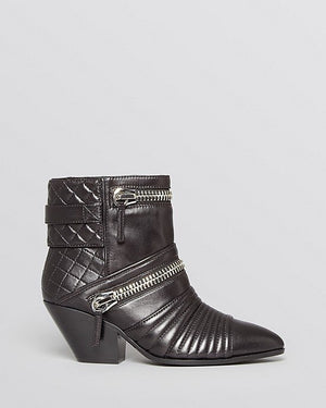 GIUSEPPE ZANOTTI Nero Leather 'Guns 55' Zip Detail Ankle Booties - Fashionbarn shop - 3