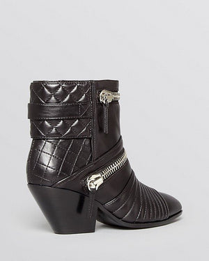 GIUSEPPE ZANOTTI Nero Leather 'Guns 55' Zip Detail Ankle Booties - Fashionbarn shop - 2