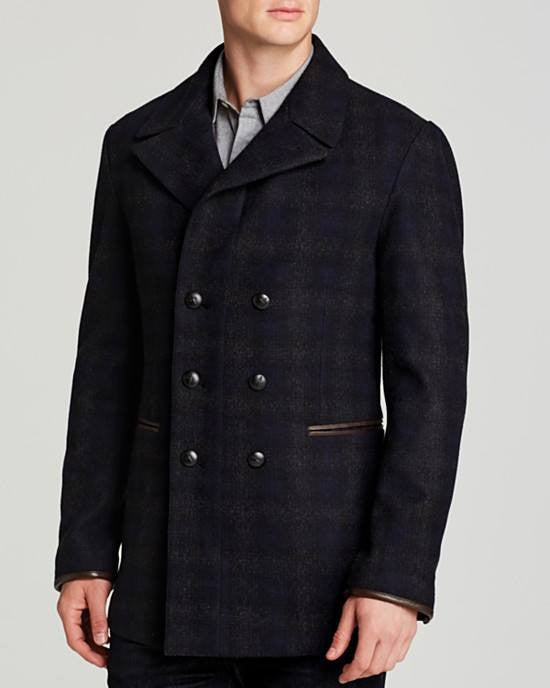 John Varvatos Star USA Double-Breasted Plaid Peacoat-JOHN VARVATOS STAR USA-Fashionbarn shop