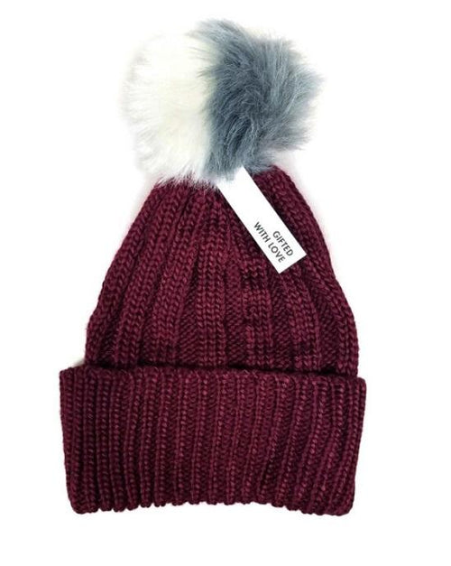 BCBGeneration Two Tone Pom Pom Beanie Wineberry