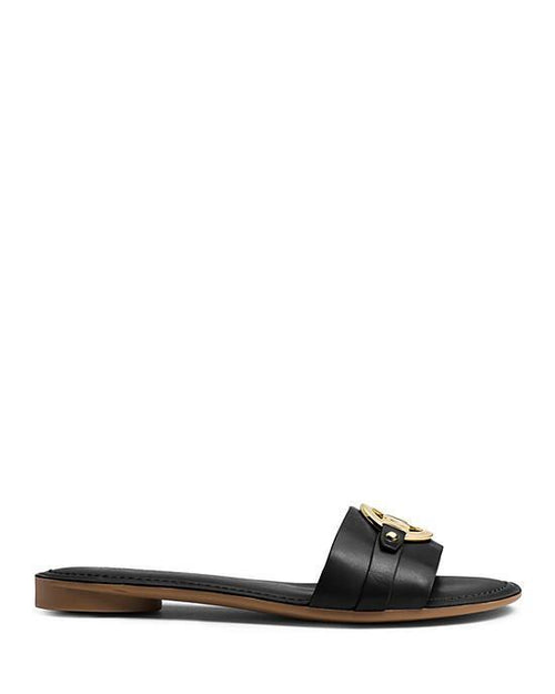 Michael Michael Kors Flat Slide Sandals - Molly MK Plate