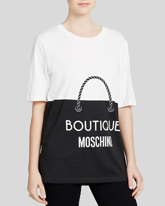 Boutique Moschino Women's White Tee - Shopping Bag Print