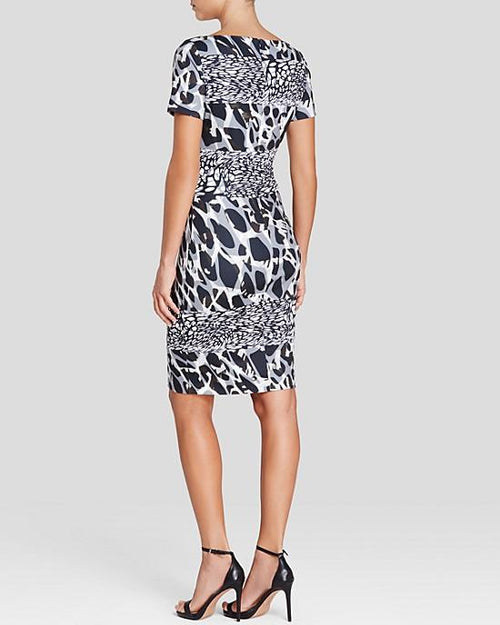 Escada Marble Print Short Sleeve Dress