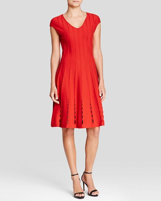 Escada Cap Sleeve Burnout Cutout Scuba Dress