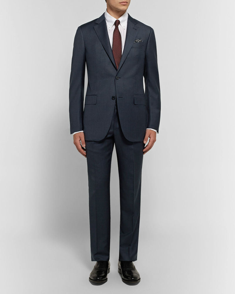 ERMENEGILDO ZEGNA Navy Slim-Fit Micro-Checked Wool Suit