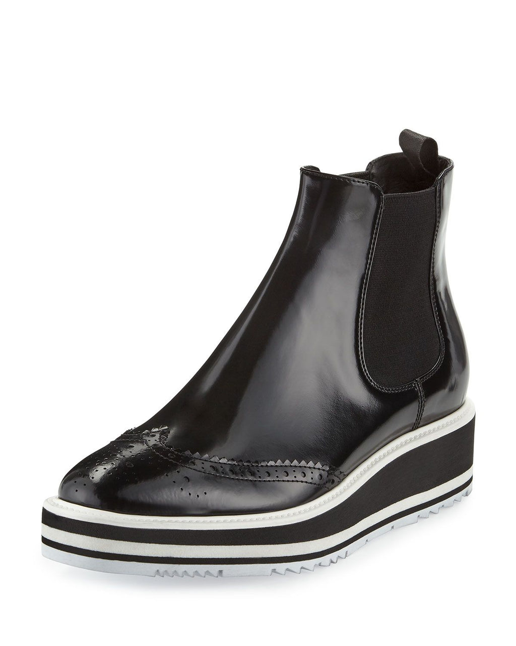 Prada Micro-Sole Wing-Tip Chelsea Boot, Black (Nero)