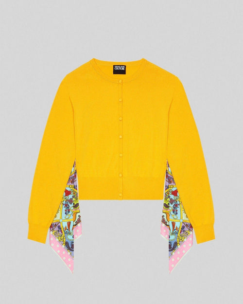 Versace Jeans Couture Foulard Accent Cardigan, Yellow