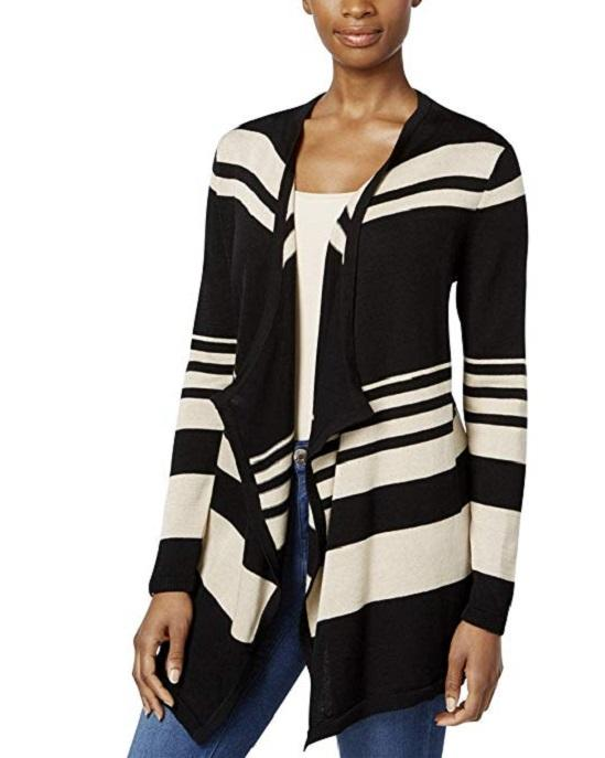 JM Collection Womens Knit Striped Duster Sweater