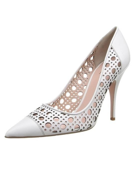 c866b6b76a25 KATE SPADE new york Women s White Lizette Lattice Perforated Leather Pumps