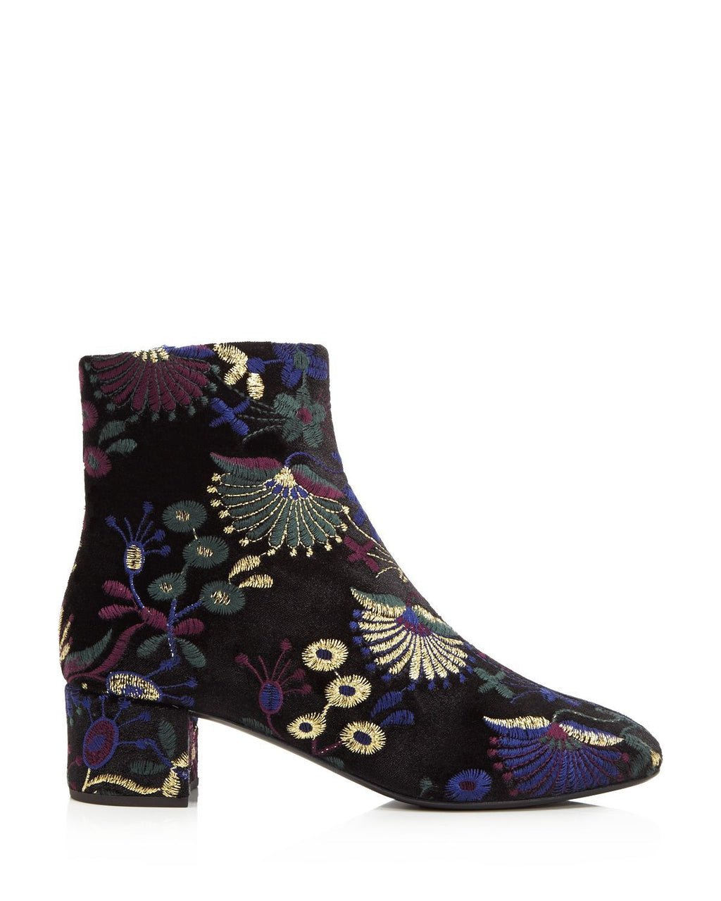 Giuseppe Zanotti Women's Embroidered Velvet Block Heel Booties
