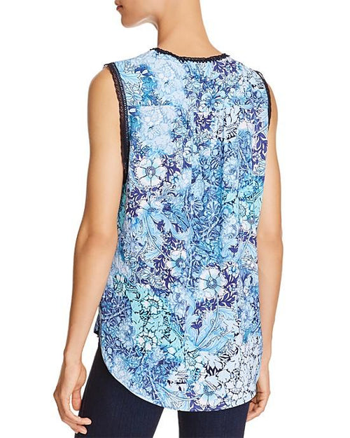 T Tahari Norma Floral Print Sleeveless Blouse