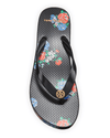 Tory Burch Printed Carved-Wedge Flip - Flops