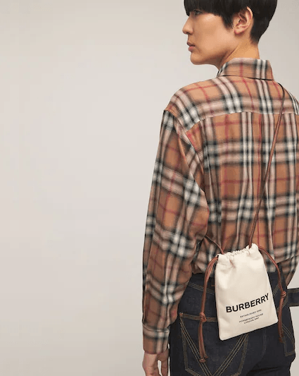 Burberry Logo Print Canvas Pouch Bag