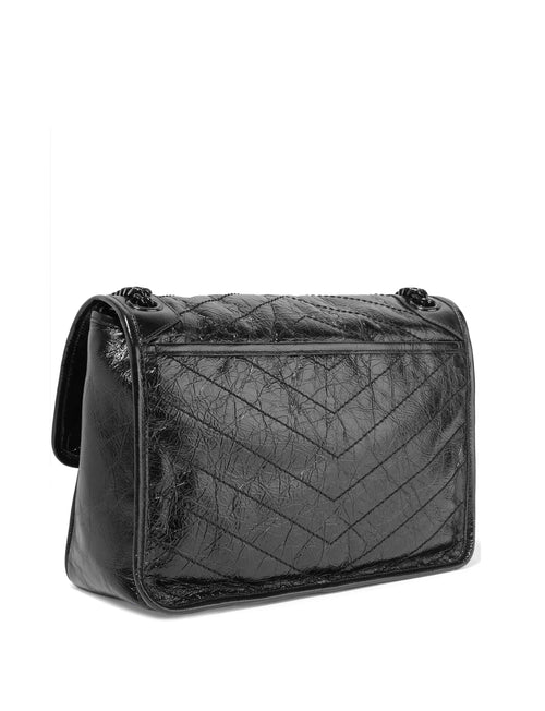 Saint Laurent Niki Medium Quilted Crinkled Glossed-Leather Shoulder Bag