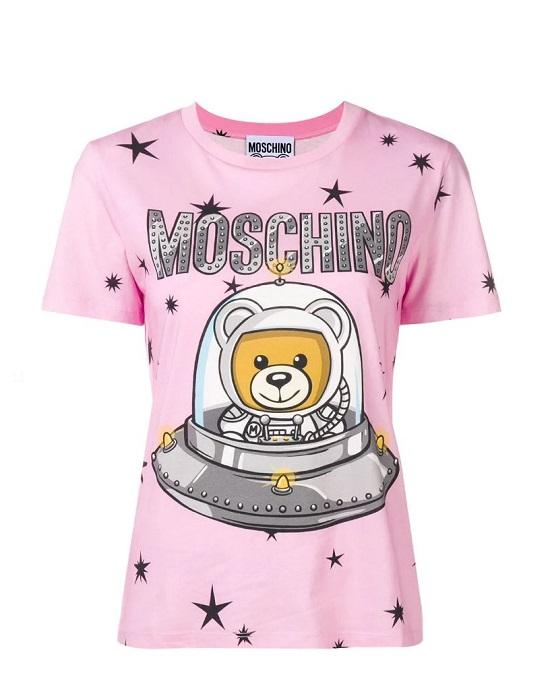 MOSCHINO T-SHIRT IN COTTON JERSEY WITH UFO TEDDY PRINT