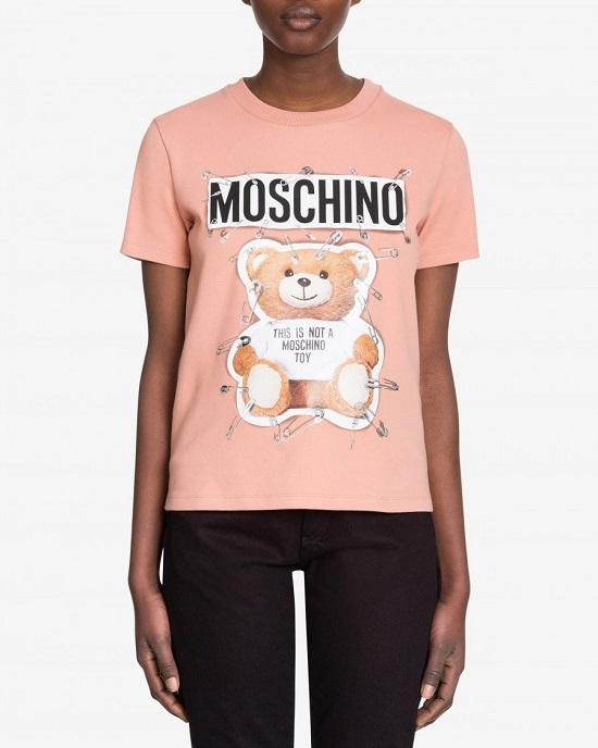 MOSCHINO COTTON JERSEY T-SHIRT WITH SAFETY PIN TEDDY PRINT