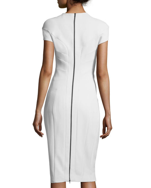 Narciso Rodriguez Cap-Sleeve Horizontal Seamed Sheath Scuba Dress