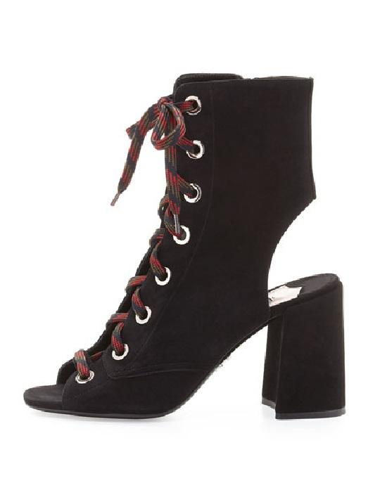 Prada Lace-Up Suede Peep-Toe Bootie,