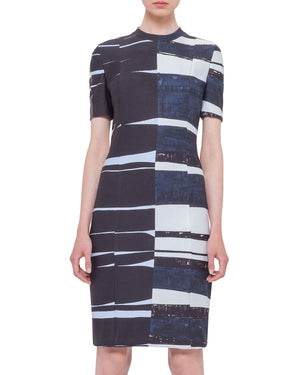 Akris punto Short-Sleeve Brushstroke Sheath Dress, Multi Colors