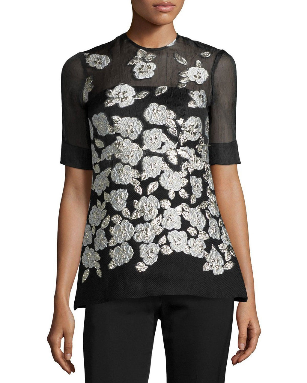 Lela Rose Metallic Floral-Embroidered Blouse, Black