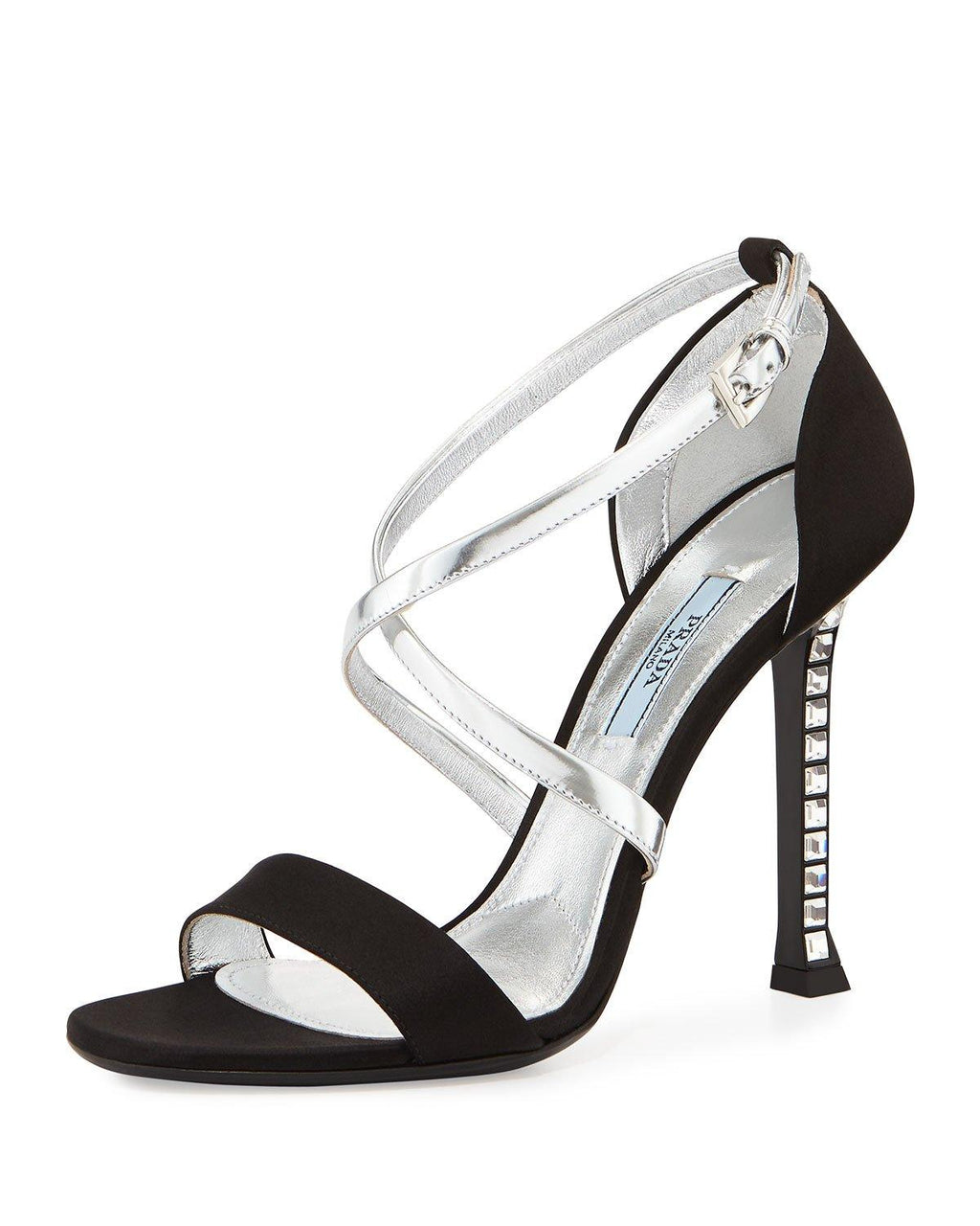 Prada Metallic Satin Crystal-Heel Pump