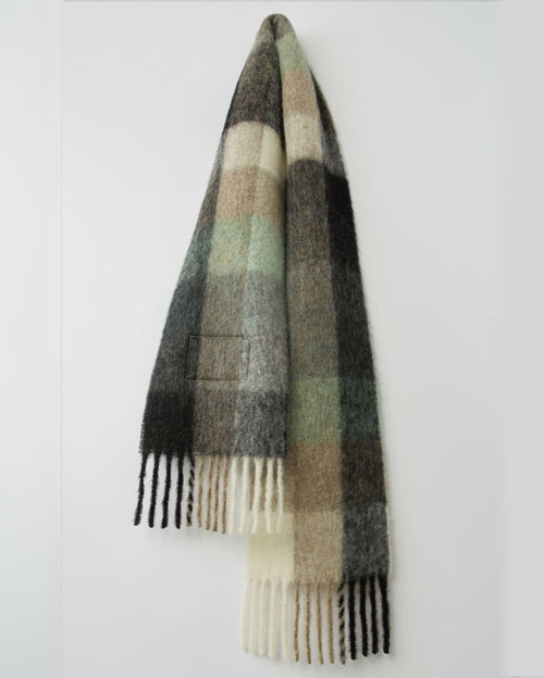 Acne Studios Multi Check Scarf Green/Grey/Black