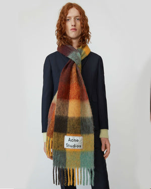 Acne Studios Multi Check Scarf Brown/Yellow/Green