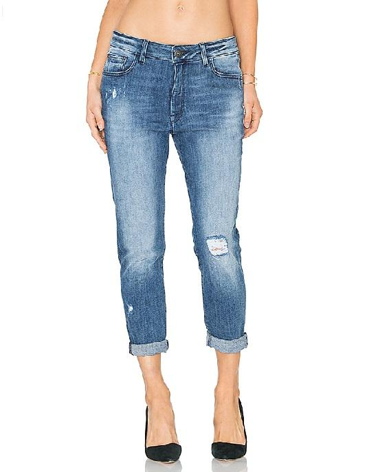 DL1961 Jessica Alba No. 6 Cropped Relaxed Jeans In Scratched