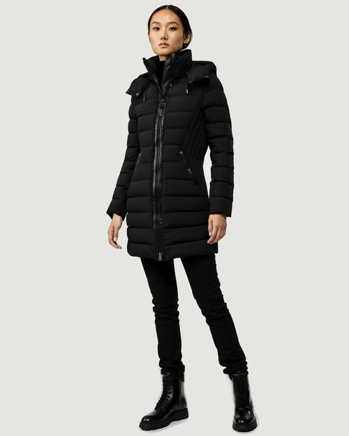Mackage Farren Stretch Lightweight Down Coat With Removable Hood, Black