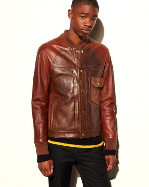 Coach Men's Brown Patched Leather Varsity Jacket