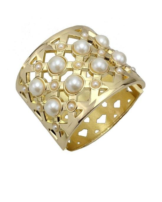 Steffe Gold Venetian Princess Wide Pearl Bangle