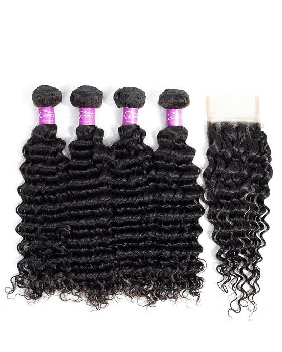 Cranberry Peruvian Human Hair 3 Bundles Deep Wave Bundles With Closure